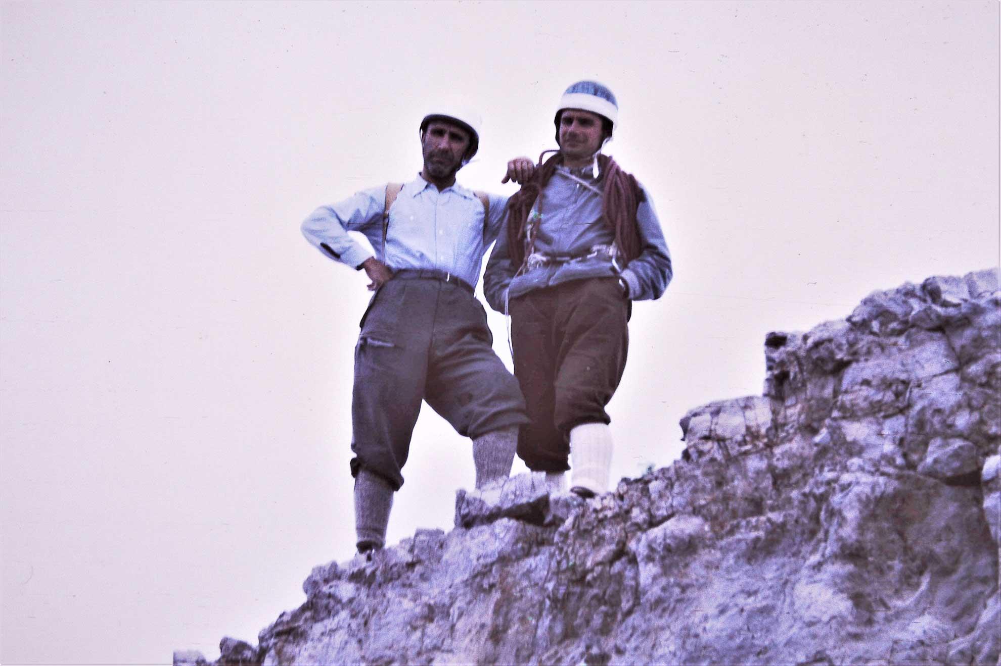 Carlo Carena e Ugo Manera in vetta al Crozon di Brenta